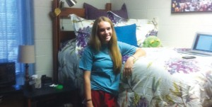 Mallory Pence, from McKinney, in her swanky dorm at Texas A & M.