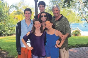 Double the fun: Twin sisters, Megan and Allie (in front) and twin brothers, Reid and Ryan with parents Lauren and Jeff during a recent vacation in Mexico.