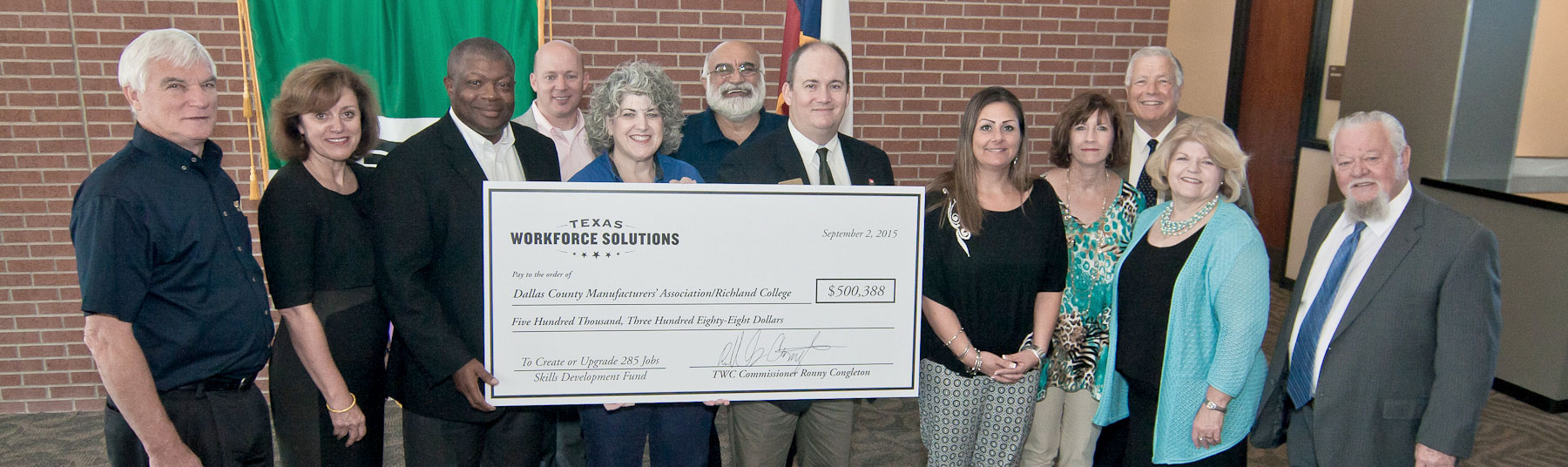 Richland college receives grant from texas workforce commission richland college texas workforce commission twc dallas county manufacturers association dcma garland chamber of commerce and local business malvernweather Gallery