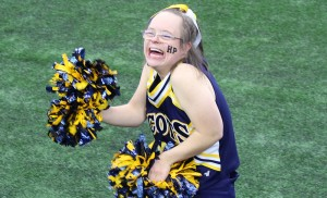"""I like cheering at the games."" - Sara ""Happy"" Waterman on her years of cheerleading, including currently for the Highland Park High School ""Sparkling Scots."""