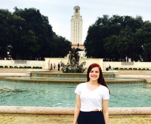 High school student Claire Lesprit poses here on a recent college visit to The University of Texas at Austin. The Richland Collegiate High School senior graduates high school in May with two years of college under her belt at no cost.