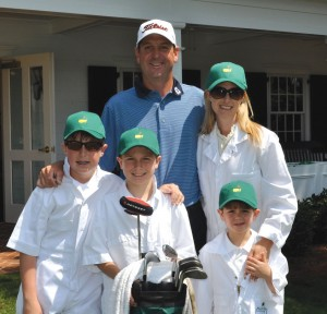 Harrison with wife Allison and sons, Harrison, (now 16), Ford (now 13), and Slayden (now 9) pictured here at The Masters in 2012.   The Highland Park High School sweethearts have been married 20 years.