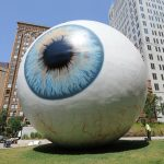 """Eye"" by artist Tony Tasset at The Joule Hotel in downtown Dallas."