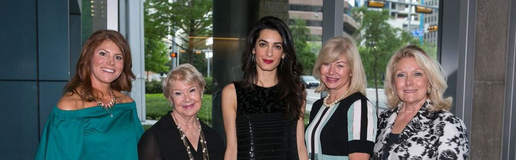 Last month, Ambassador Phillips chaired the 2016 Wings Luncheon event for the second year, this time bringing in Amal Clooney, an internationally acclaimed human rights activist, raising $1 million for New Friends New Life. (Pictured L to R) New Friends New Life CEO Katie Pedigo, Nancy Ann Hunt, Amal Clooney, Ashlee Kleinert and Jeanne Phillips.