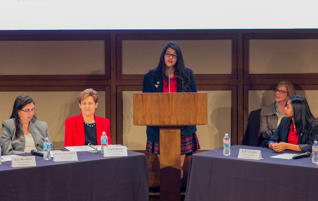 A gifted and passionate speaker, Sammie acted as moderator alongside former Senator Florence Shapiro at the NFNL Nest Curriculum Forum at SMU in February. She and her classmates from the Irma Rangel Young Women's Leadership School were among the first in the nation to learn the curriculum inspired by the documentary, Playground: The Child Sex Trade in America.