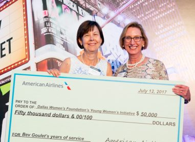 AMERICAN AIRLINES HONORS BEV GOULET  benefiting DALLAS WOMEN'S FOUNDATION